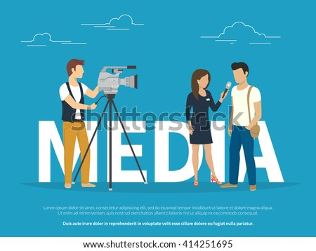 Mass media announcement concept illustration of live news tv broadcasting with reporter. Flat vector illustration of big letters media and female reporter taking the interview with guy standing near - stock vector