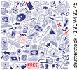 mass media - doodles set - stock photo