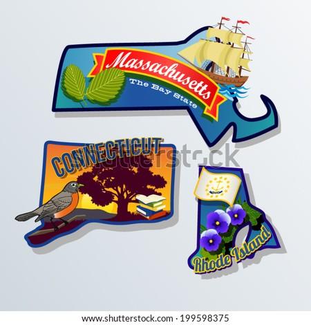 Massachusetts, Connecticut, Rhode Island retro state facts Illustrations - stock vector