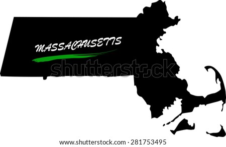 Massachusetts map vector in black and white background, Massachusetts map outlines in a new design - stock vector