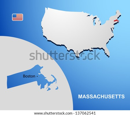 Massachusetts on USA map with map of the state