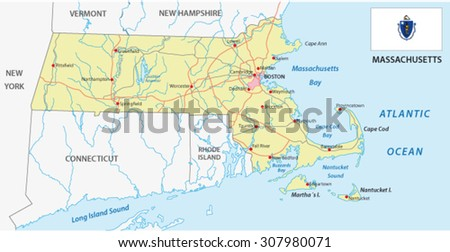 massachusetts road map with flag - stock vector