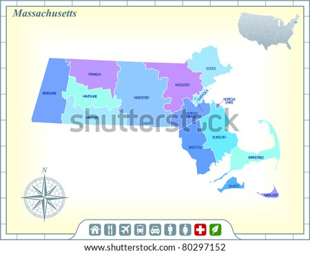 Massachusetts State Map with Community Assistance and Activates Icons Original Illustration - stock vector