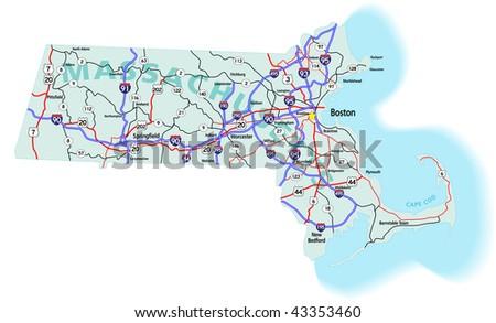 Massachusetts Map Stock Images RoyaltyFree Images Vectors - Massachusetts on us map