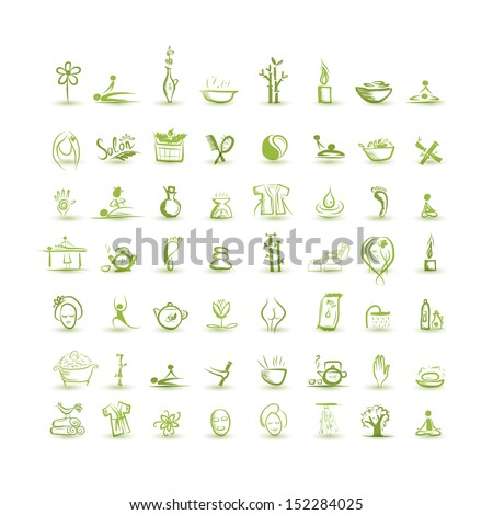 Massage and spa, set of icons for your design - stock vector