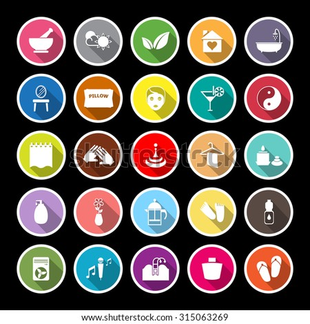 Massage flat icons with long shadow, stock vector - stock vector