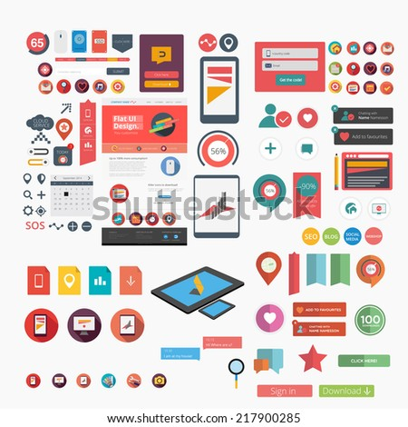 Massive collection of flat web graphics - stock vector