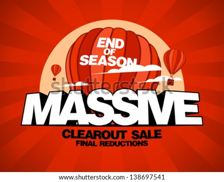Massive sale design template with balloons carrying shopping bags - stock vector