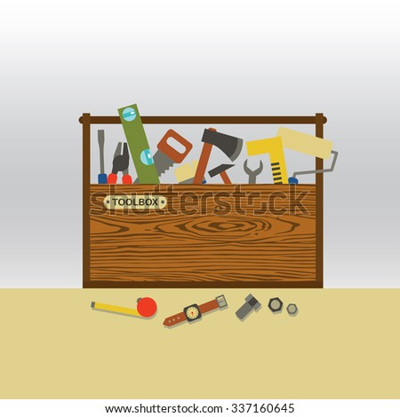Master repairman set of tools in wooden toolbox - stock vector