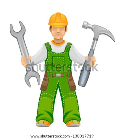 Master with tools - stock vector