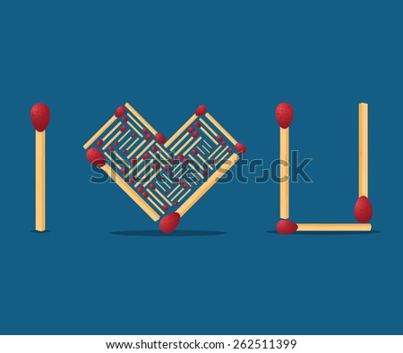 Match concept of i love you. - stock vector