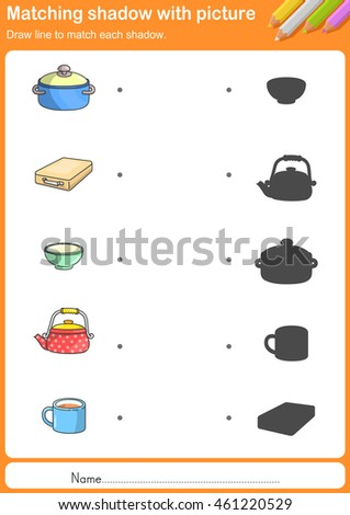Match kitchen tools with shadow - Worksheet for education