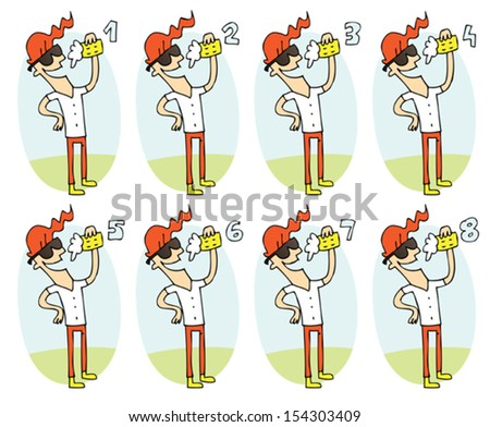 Match Pairs Visual Game: Beer. Task: find two identical images! Answer: 3 and 5. Illustration is in eps8 vector mode! - stock vector