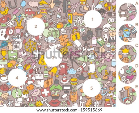 Match pieces, visual game. Answer: 1-A, 2-E, 3-D, 4-B, 5-C. Illustration is in eps8 vector mode! - stock vector