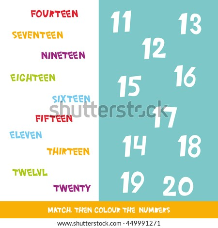 Match Colour Numbers 11 20 Kids Stock Vector (2018) 449991271 ...