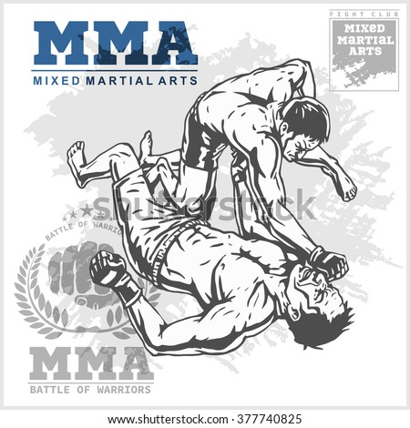 Match two fighters of martial mixed arts on grunge background and labels. - stock vector