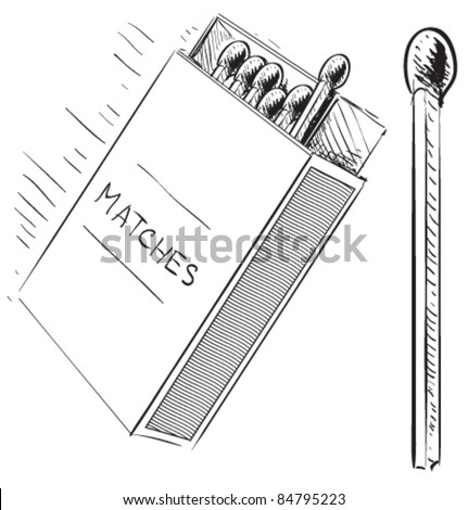 Matches and matches-box sketch doodle icon - stock vector