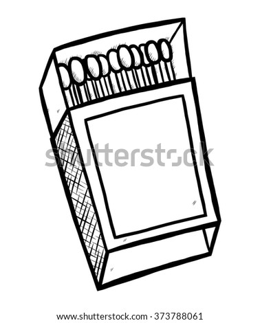 matches box / cartoon vector and illustration, black and white, hand drawn, sketch style, isolated on white background. - stock vector