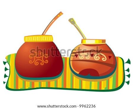 Mate pots. To see similar illustrations please visit my gallery. - stock vector