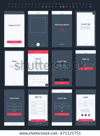 Material Design Mail App Kit for Mobile with wireframe