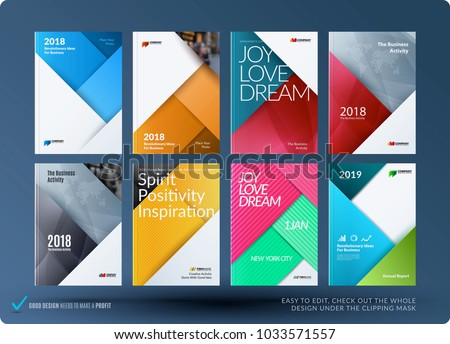 Material design of brochure set, abstract annual report, horizontal cover