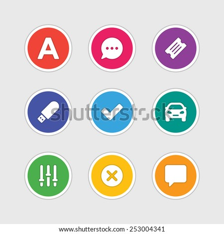 Material design style icons vector sign and symbols: Letter, Speech bubble, Ticket, USB, Car, Options, Cross, Dialog. Elements for website, web banners, mobile apps, ui and other design.  - stock vector
