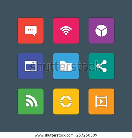 Material design style icons vector sign and symbols Message, Wi-fi, Chart, Folder, Share, Video. Elements for website, web banners, mobile apps, ui and other design.  - stock vector