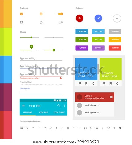 Material design ui set. Modern ui elements. Set of simple icons. Android UI kit - stock vector