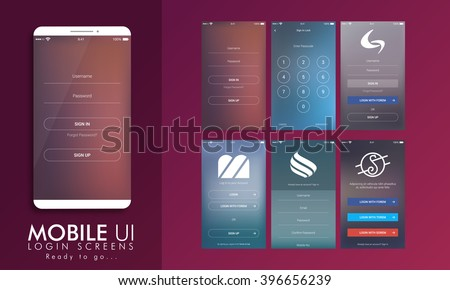 Material Design UI, UX and GUI layout with different Login Screens including Account Sign In, Sign Up, and Lock Screen for Mobile Apps and Responsive Website. - stock vector