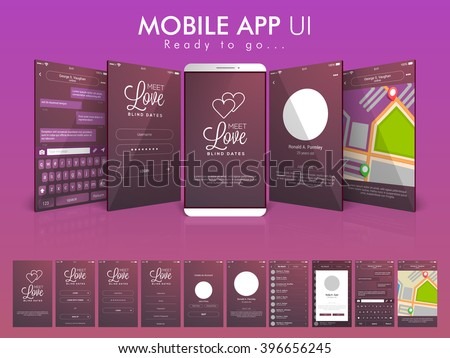 Material Design UI, UX and GUI Screens with Chat, Login, Map, Create Account and Contact List feature for Online Communication and Dating Mobile App, responsive website. - stock vector