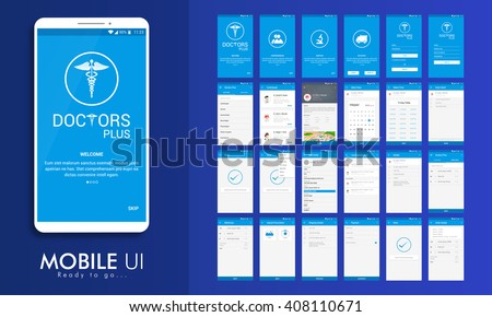 Material Design UI, UX, GUI screens for Health & Medical Mobile Apps with Doctor Details, Booking, Select Date, Time, Edit Profile, Appointment Details, Shipping Details, Payment & Order Features.  - stock vector