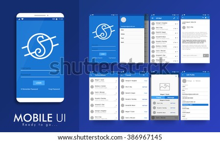 Material design UI, UX screens, flat web icons for mobile apps, responsive websites. login, email profile setting, inbox, email preview, conversation, friends, message preview, edit profile screens.  - stock vector