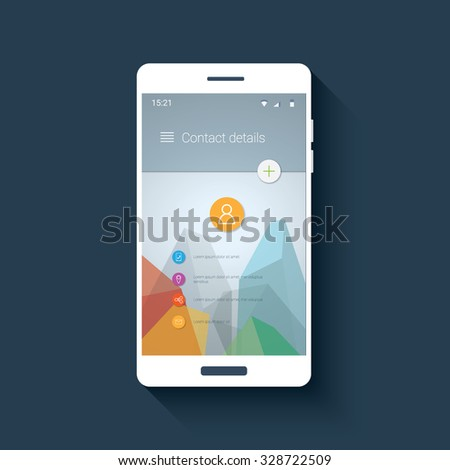 Material design user interface. Contacts application screen. Low poly vector background. Polygonal triangles shapes. Eps10 vector illustration. - stock vector
