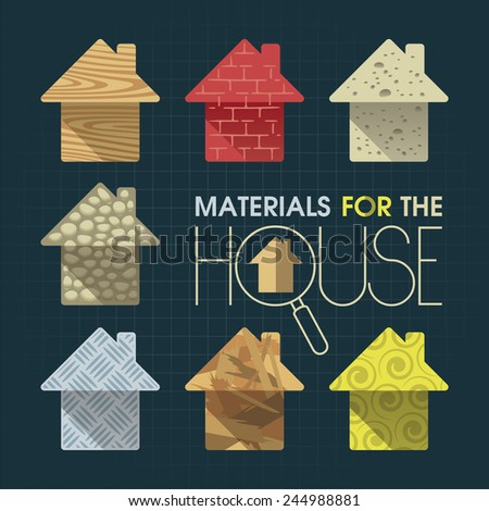 Materials to build a house in the form of small houses - stock vector