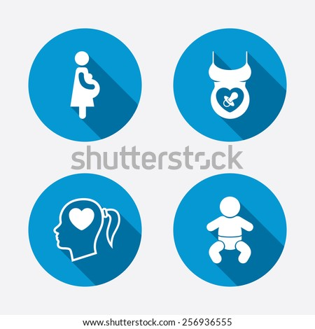 Maternity icons. Baby infant, pregnancy and dummy signs. Child pacifier symbols. Head with heart. Circle concept web buttons. Vector - stock vector