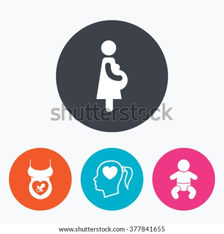 Maternity icons. Baby infant, pregnancy and dummy signs. Child pacifier symbols. Head with heart. Circle flat buttons with icon. - stock vector