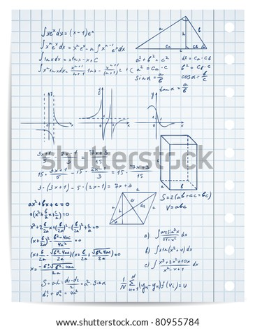 math and geometry on copybook page vector set - stock vector