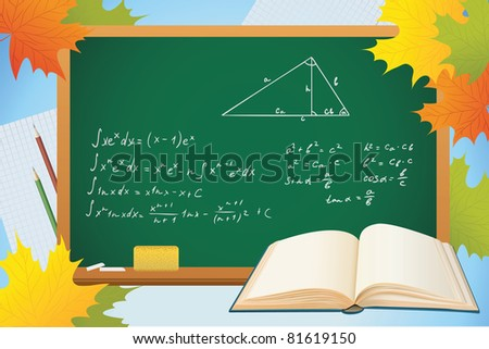 math and geometry school autumn background with blackboard, books and leves, vector - stock vector