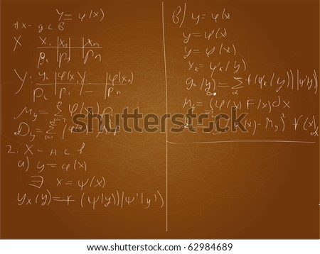 Math background on brown board. Vector .