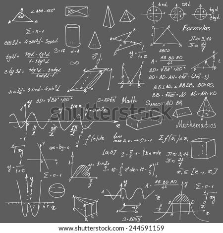 Math. Background with trigonometry formulas. Chalk on a blackboard. Vector illustration. - stock vector