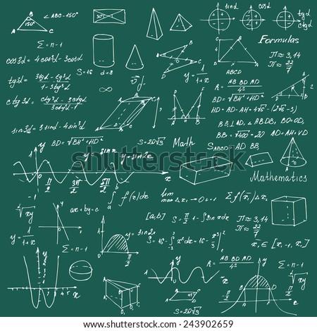 Math. Background with trigonometry formulas. Vector illustration. - stock vector