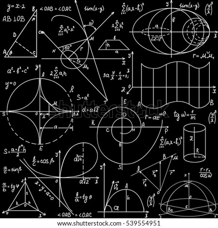 Math educational vector seamless pattern with handwritten formulas and calculations, geometrical hand drawn figures. You can use any color of background