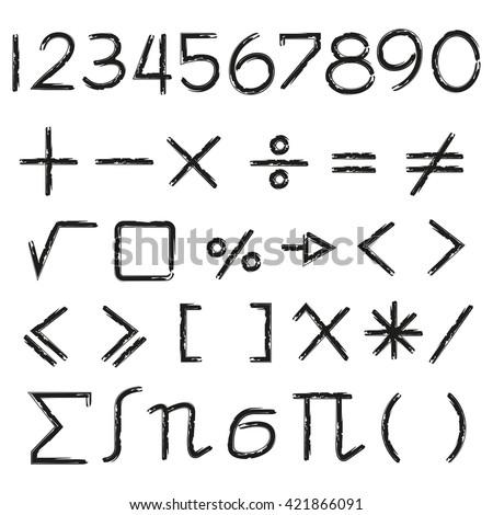 math icons, math symbols set - stock vector