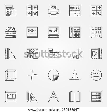 Math Icons Set Vector Geometry Algebra Stock Vector Royalty Free