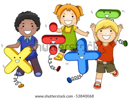 Math Kids - Vector - stock vector