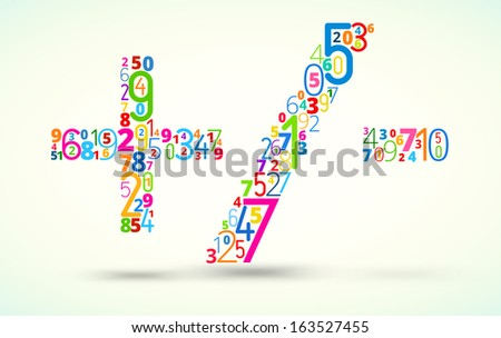 Math operations addition, subtraction and dividing,  from rainbow colored numbers  vector font  - stock vector