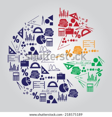 math or mathematics theme icons set like a big color graph created from icons eps10 - stock vector