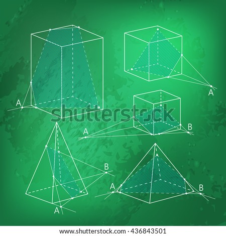 Math picture - sections of polyhedra. Geometry background on chalkboard. School vector illustration. - stock vector