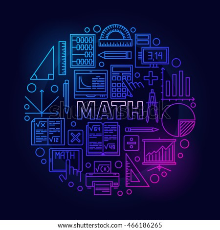 Math round bright symbol. Vector colorful mathematics school subject bright sign in thin line style on dark background