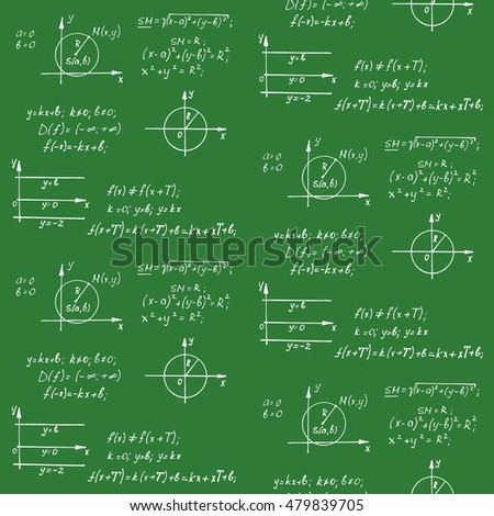 Math seamless pattern with the equations, figures, schemes, plots and other calculations. Handwritten vector Illustration.